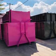 Containers stacked inside each other for shipping